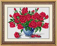Рисование камнями на холсте Dream Art Ваза с розами (полная зашивка, квадратные камни) (DA-30239) 45 х 60 см