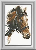 Рисование камнями на холсте Dream Art Конь (полная зашивка, квадратные камни) (DA-30242) 31 х 50 см