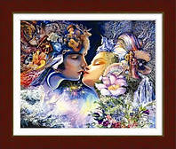 Рисование камнями на холсте Dream Art Поцелуй (частичная зашивка, круглые камни) (DA-10001) 46 х 58 см