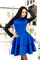 Шикарное женское  платье с черными рукавами, цвет электрик. Арт-2053/22