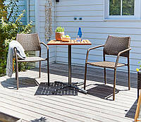 Садовый мебели садовой из искусственного ротанга коричневые (2 кресла и столик квадратный)