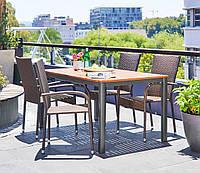 Комплект мебели садовой из метала и дерева  (4 стула и столик 150 см)