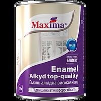 Эмаль алкидная высококачественная по металлу и дереву Maxima (чёрная) 0.9л