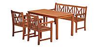 Комплект мебели садовой из дерева  (2 кресла, столик 150 см) и скамья