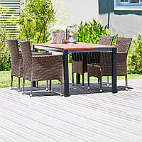 Комплект мебели садовой из дерева и искуссвтенного ротанга  (4 кресла и столик 150 см