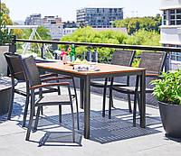 Комплект мебели садовой метала и дерева  (4 кресла и столик 150 см