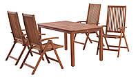 Комплект мягкой садовой мебели из дерева (4 кресла раскладных и стол 150 см)