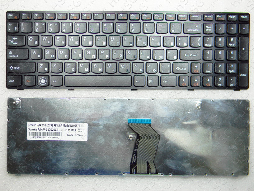 Клавиатура (RU) Lenovo G570, G575, G770, G780, Z560, Z565, black
