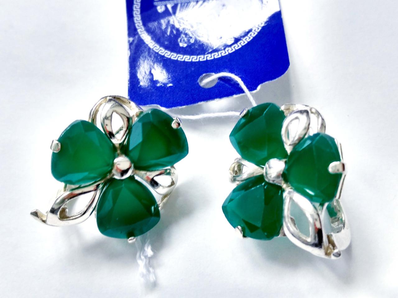 Серебряные серьги Барвинок с зеленым камнем