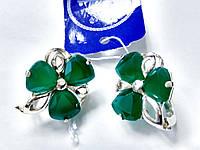 Серебряные серьги Барвинок с зеленым камнем, фото 1