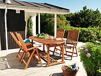 Комплект большой мебели садовой из дерева  (4 кресла, столик раскладной большой)
