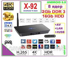 X92  Android TV BOX 8 ядер  2gb DDR3 16gb +ANDROID 6 +НАСТРОЙКИ I-SMART