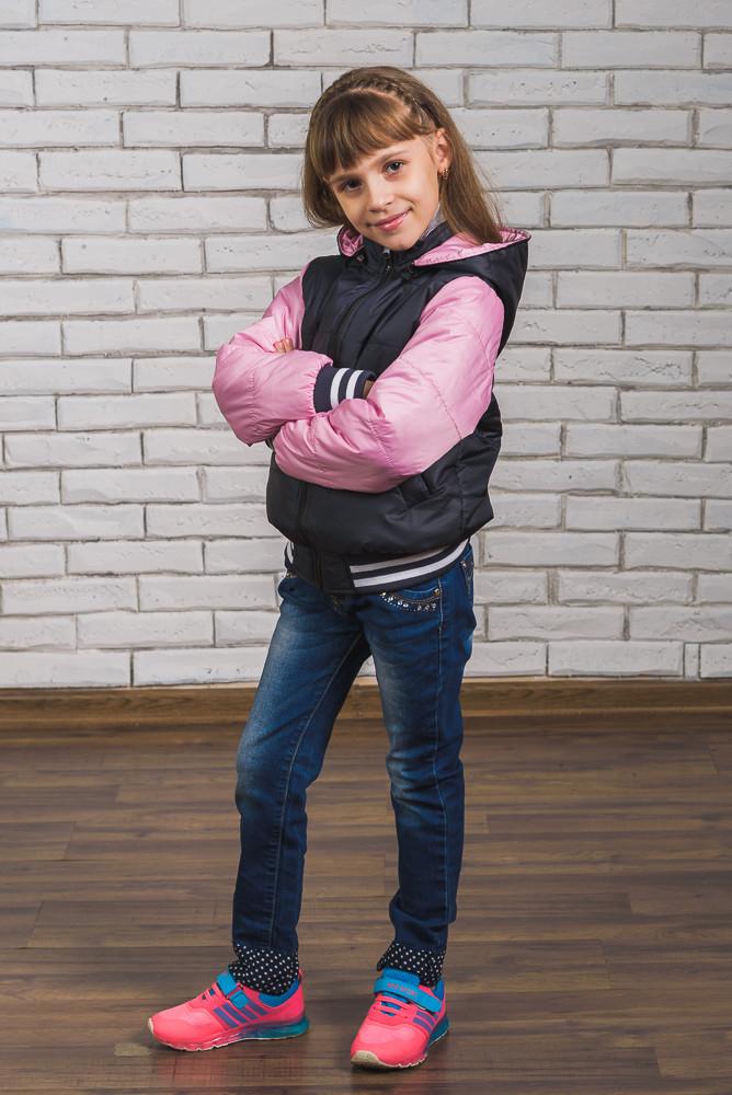 Куртка-бомбер для девочки т. син+ розовый