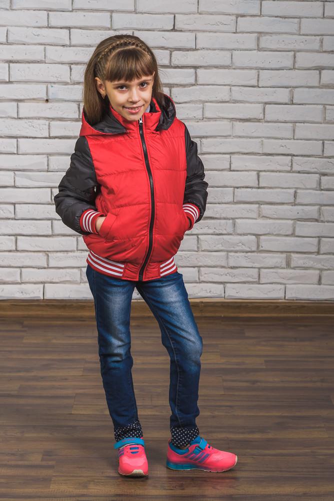 Куртка-бомбер для девочки красн+т.сер