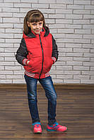 Куртка-бомбер для девочки красн+т.сер, фото 1