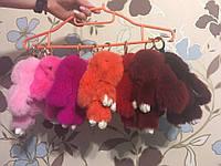 Брелок-кролик из меха / Зайчик брелок на сумку / брелок  из меха 18 см