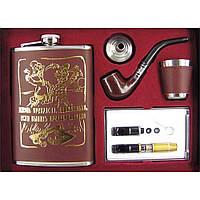 Фляга - подарочный набор кожа с золотом