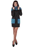 Теплое синее платье SO-13133-BLU ТМ Alpama 44-48 размеры