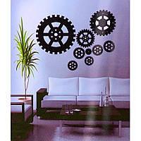 Часы наклейки на стену шестеренка