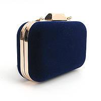 Клатч-бокс вечерний синий замшевый маленькая сумочка