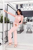 Модный розовый  женский комбинезон, верх из дорогого гипюра. Арт-2057/22