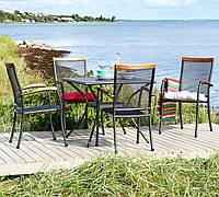 Комплект мебели для сада, кафе и ресторанов (4 стула  и столик квадратный из метала )