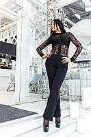 Модный черный  женский комбинезон, верх из дорогого гипюра. Арт-2057/22