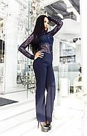 Модный темно-синий  женский комбинезон, верх из дорогого гипюра. Арт-2057/22