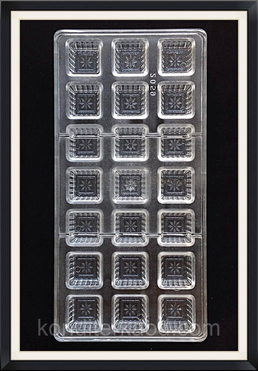 Поликарбонатная форма Квадрат с цветочком для конфет, карамели, шоколада