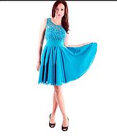 Платье коктейльное Валентино  бирюза