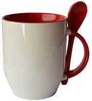Кружка керамическая для сублимации, с ложкой, красная