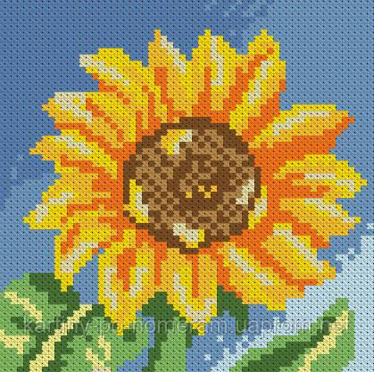 Вышивка камнями Алмазная мозаика Маленький подсолнух (DM-016) 15 х 15 см