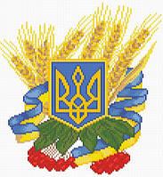 Вышивка камнями Алмазная мозаика Герб Украины (DM-057) 28 х 30 см