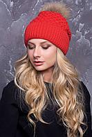 Женская шапка «Лина» с енотовым помпоном