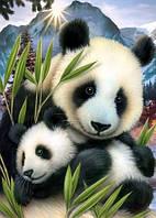 Вышивка камнями Алмазная мозаика Милые панды (DM-105) 40 х 50 см