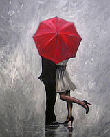 Вышивка камнями Алмазная мозаика Влюбленные под зонтом (DM-106) 40 х 50 см