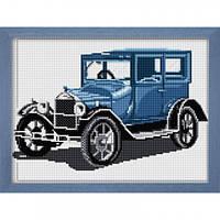 Вышивка камнями Dream Art Ретро автомобиль(синий) (полная зашивка, квадратные камни) (DA-30025) 25 х 34 см