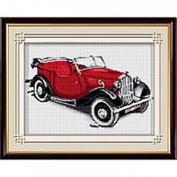 Вышивка камнями Dream Art Ретро автомобиль(красный) (полная зашивка, квадратные камни) (DA-30026) 25 х 40 см