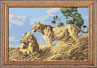 Вышивка камнями Dream Art Африканские львы (полная зашивка, квадратные камни) (DA-30052) 42 х 62 см