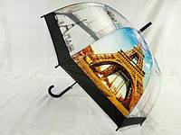 Прозрачный зонт трость с Эйфелевой башней