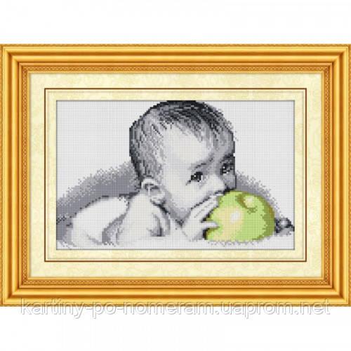 Вышивка камнями Dream Art Вкуснятина(малыш с яблоком) (полная зашивка, квадратные камни) (DA-30077) 25 х 40,5 см