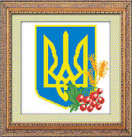Вышивка камнями Dream Art Герб Украины (полная зашивка, квадратные камни) (DA-30084) 25,5 х 26,5 см