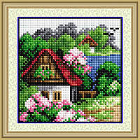 Вышивка камнями Dream Art Летний домик (полная зашивка, квадратные камни) (DA-30160) 15 х 15 см