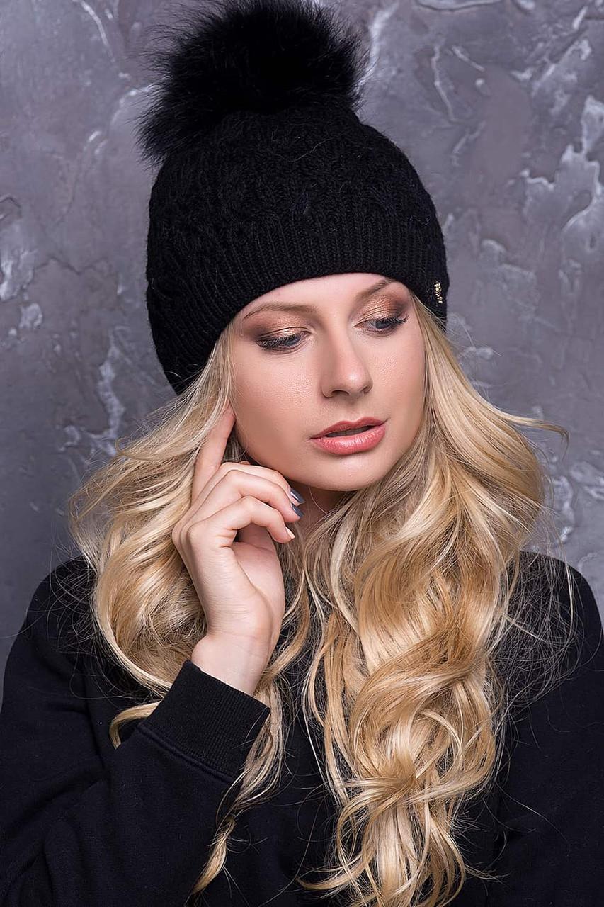 Женская шапка «Тереза» с песцовым помпоном