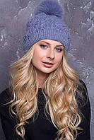 Женская шапка «Тереза» с песцовым помпоном Светлый Джинс