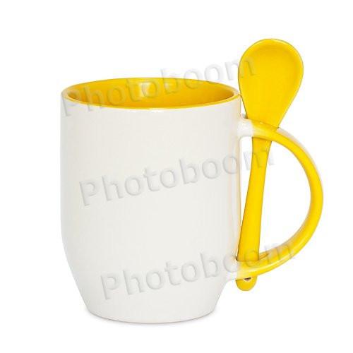 Кружка керамическая для сублимации, с ложкой, желтая