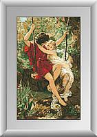 Вышивка камнями Dream Art Влюбленные на качелях (полная зашивка, квадратные камни) (DA-30264) 57 х 92 см