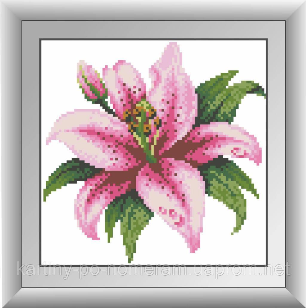 Вышивка камнями Dream Art Розовая лилия (полная зашивка, квадратные камни) (DA-30285) 22 х 22 см - Картины по номерам, раскраски по цифрам. Интернет-магазин. в Киеве