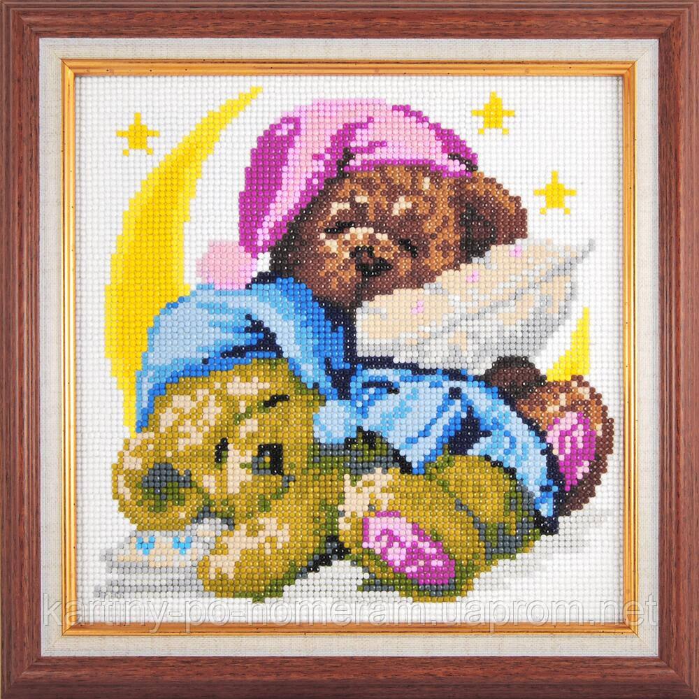 Вышивка камнями Dream Art Спящие мишки (полная зашивка, круглые камни) (DA-20002) 25 х 25см