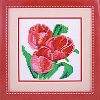 Вышивка камнями Dream Art Три тюльпана (полная зашивка, круглые камни) (DA-20007) 16,5 х 16,5 см